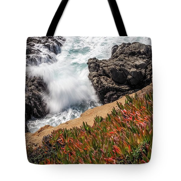 Waves And Rocks At Soberanes Point, California 30296 Tote Bag