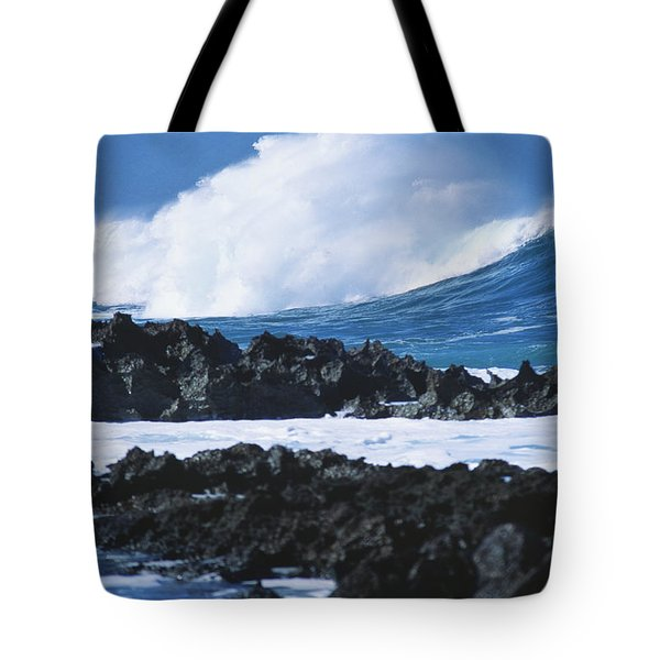 Waves And Rocks Tote Bag by Kyle Rothenborg - Printscapes