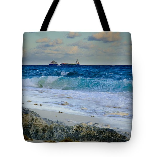 Tote Bag featuring the photograph Waves And Tankers by Jeff Phillippi