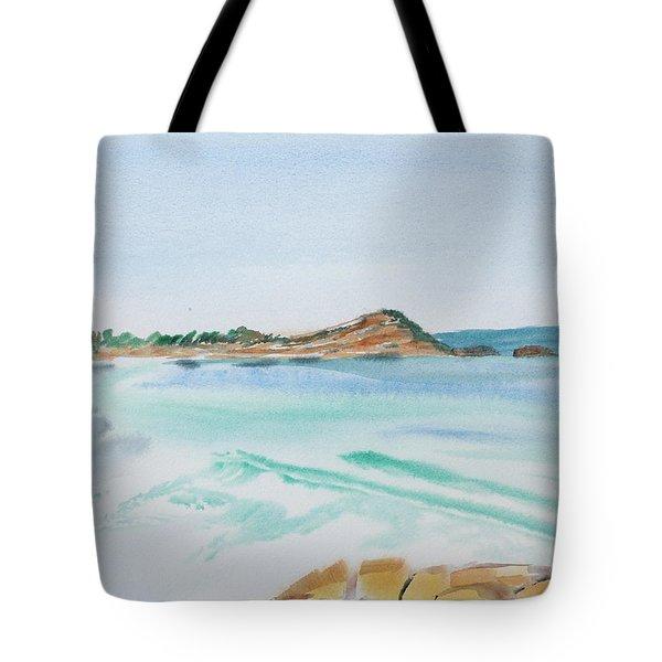 Waves Arriving Ashore In A Tasmanian East Coast Bay Tote Bag