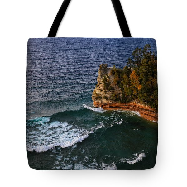 Waves At Miners Castle Tote Bag