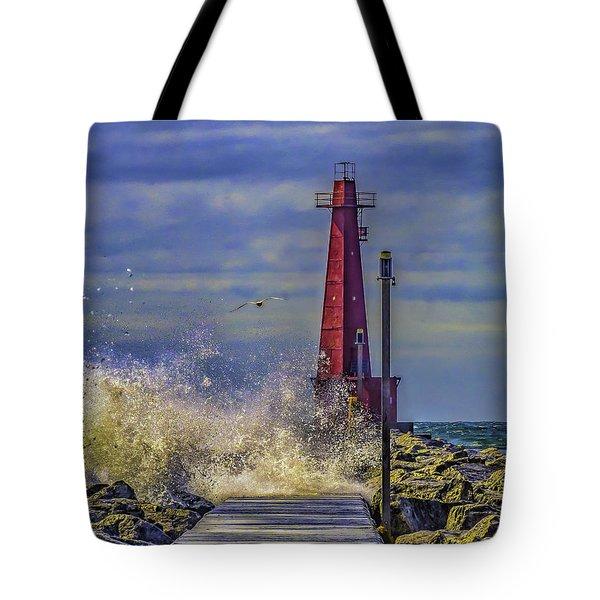 Waves At Muskegon South Breakwater Tote Bag
