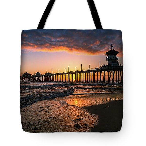 Waves At Sunset Tote Bag