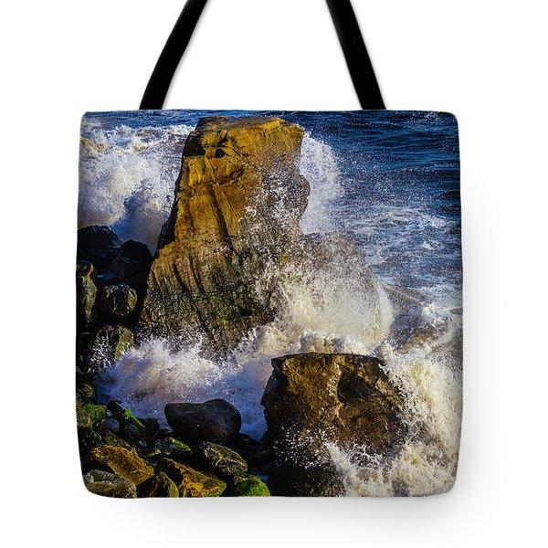Waves Battering Rocks Tote Bag