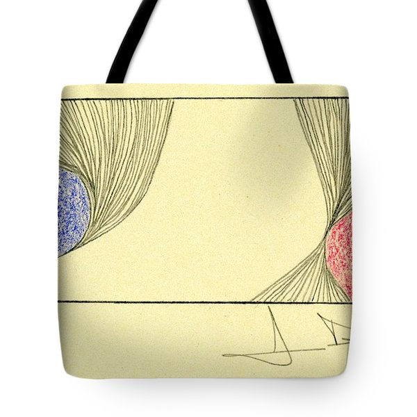 Waves Blue Red Tote Bag