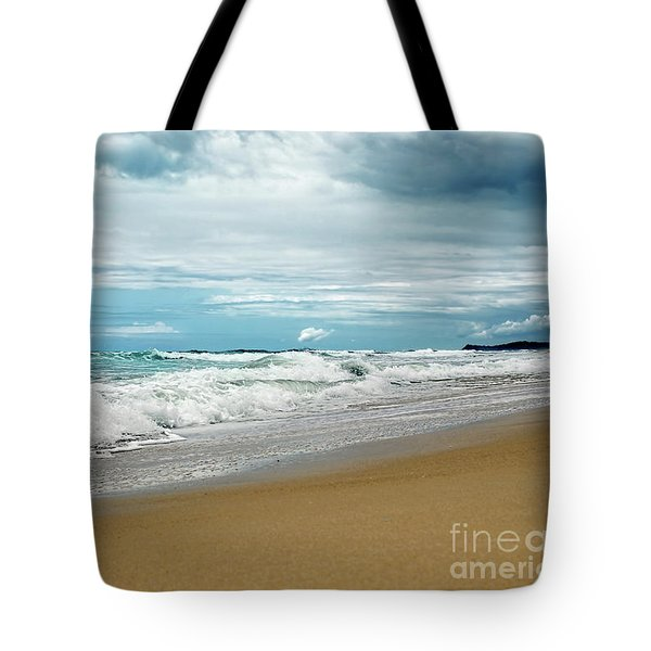 Tote Bag featuring the photograph Waves Clouds And Sand By Kaye Menner by Kaye Menner