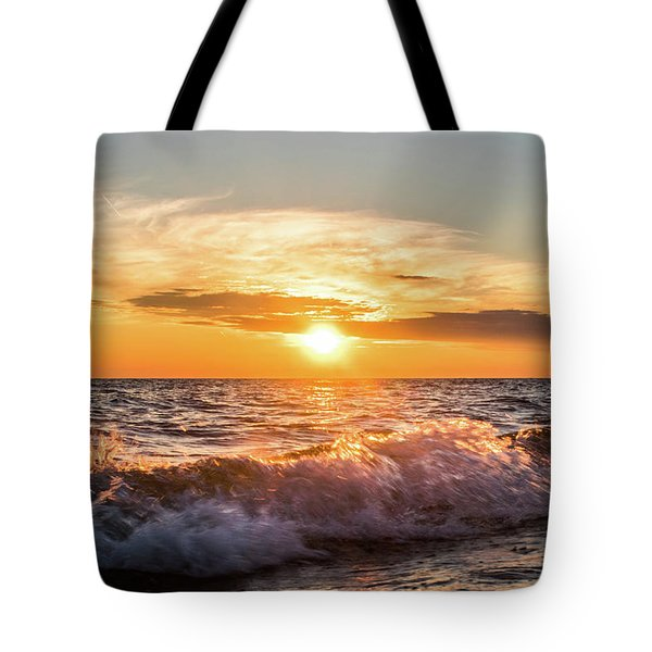 Waves Crashing With Suset Tote Bag