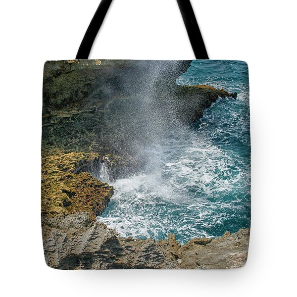 Waves Crushing On The Shore Tote Bag