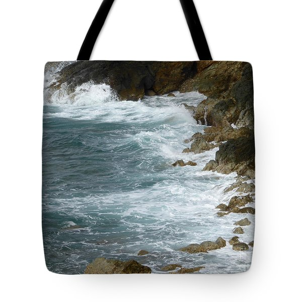 Waves Lashing Rocks Tote Bag