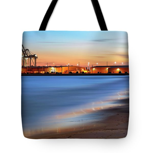 Tote Bag featuring the photograph Waves Of Industry - Gulfport Mississippi - Sunset by Jason Politte