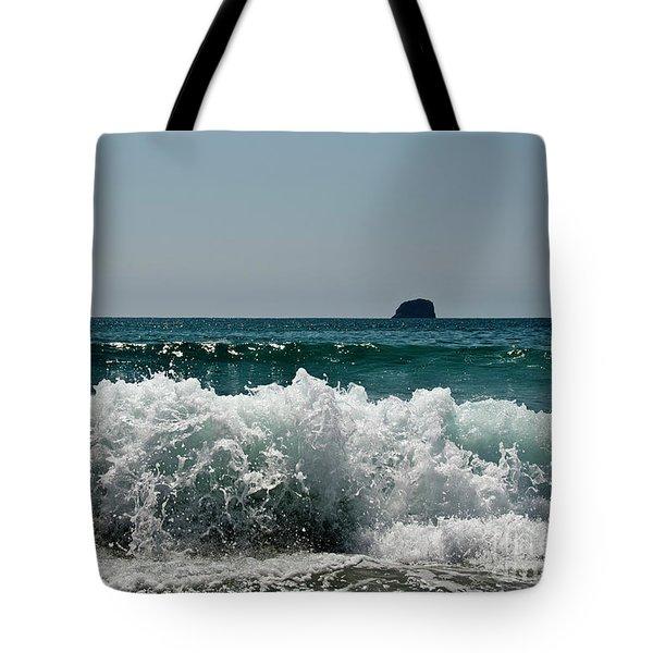 Waves Of Pacific Ocean. Coromandel,new Zealand Tote Bag