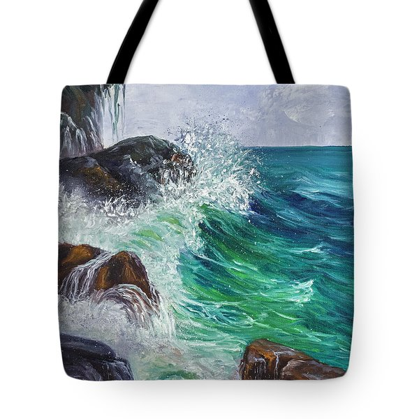 Tote Bag featuring the painting Waves On Maui by Darice Machel McGuire