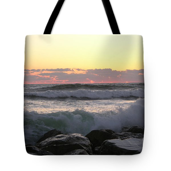 Waves Over The Rocks  5-3-15 Tote Bag
