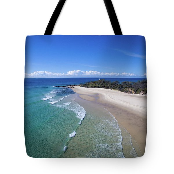 Waves Rolling In To North Point Beach On Moreton Island Tote Bag