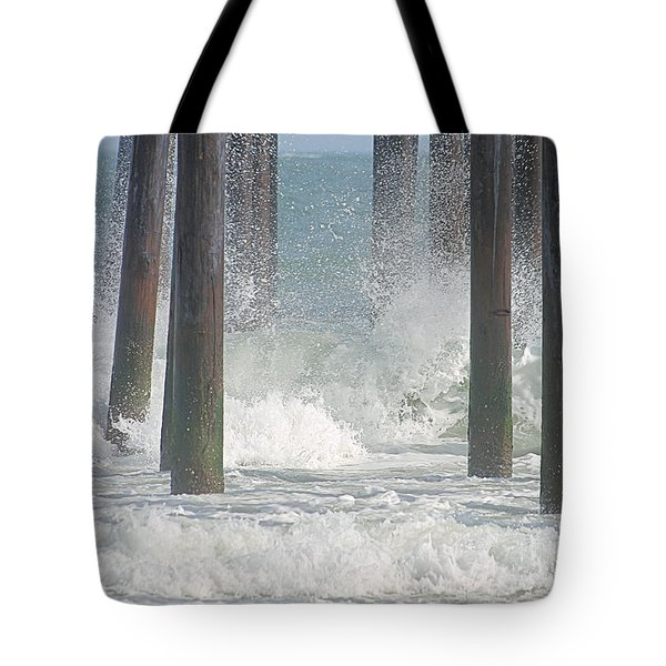 Waves Under The Pier Tote Bag