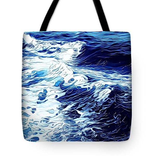 Tote Bag featuring the digital art Waves by Zedi
