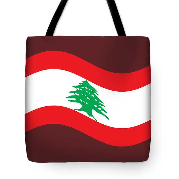 Waving Lebanon Flag Tote Bag