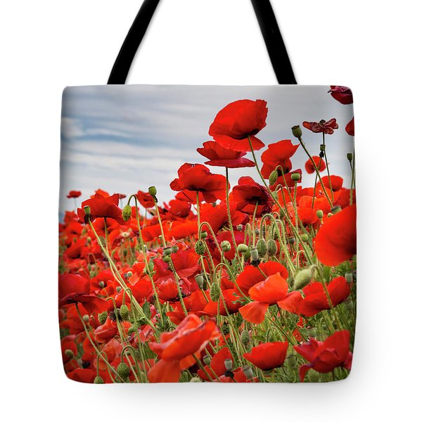Waving Red Poppies Tote Bag