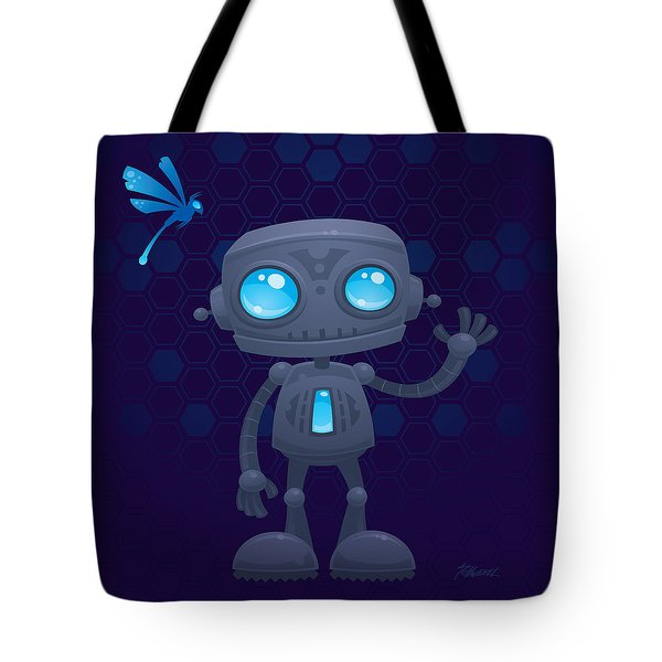 Waving Robot Tote Bag by John Schwegel