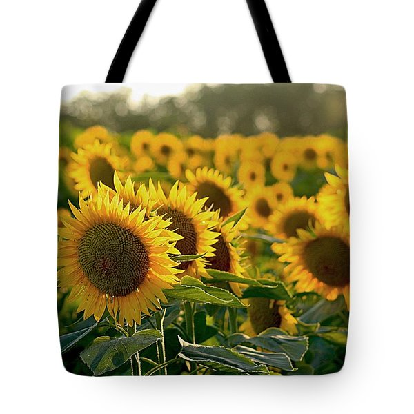 Waving Sunflowers In A Field Tote Bag