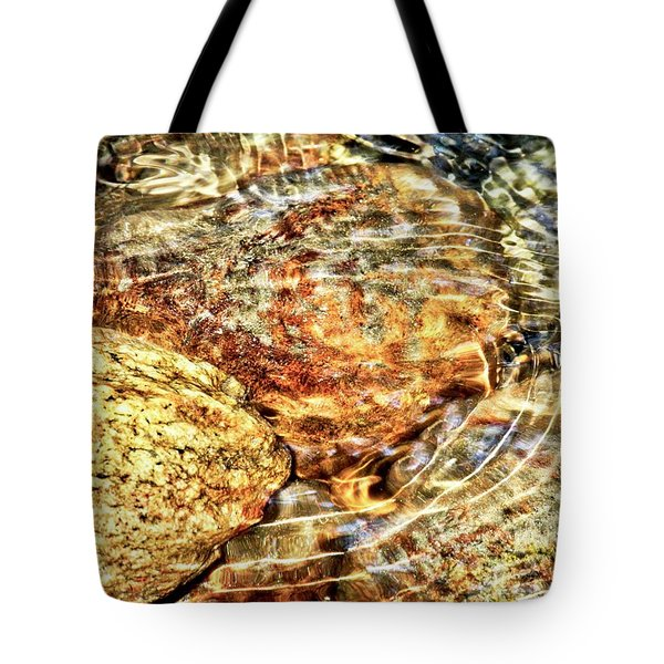 Wavy Water On Colorful Rocks Tote Bag