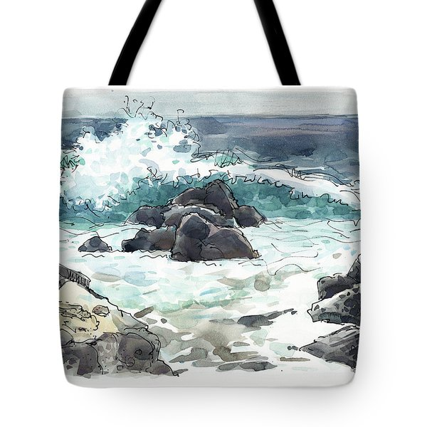 Tote Bag featuring the painting Wawaloli Beach, Hawaii by Judith Kunzle
