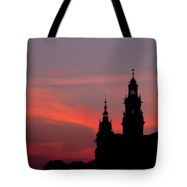 Wawel Castle And Cathedral Silhouette In Krakow Tote Bag