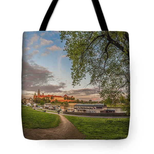 Tote Bag featuring the photograph Wawel Royal Castle Seen From Vistula Bank In 16x9 by Julis Simo