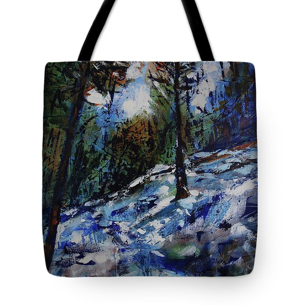 Tote Bag featuring the painting Way Of The Mono Trail by Walter Fahmy