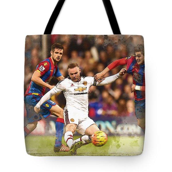 Wayne Rooney Shoots At Goal Tote Bag