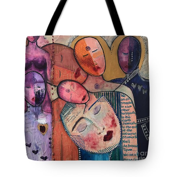 Tote Bag featuring the painting We Are All Connected by Kim Nelson