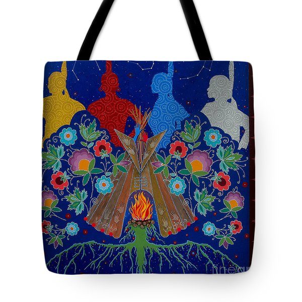 Tote Bag featuring the painting We Are One Bond by Chholing Taha