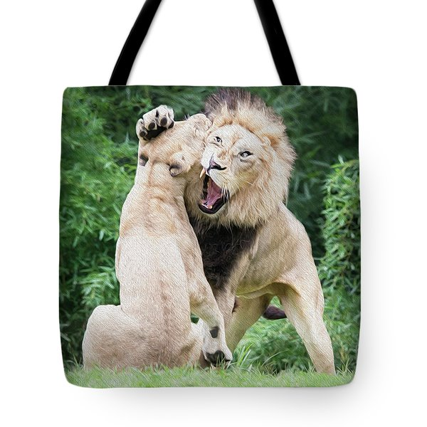 We Are Only Playing Oil Tote Bag