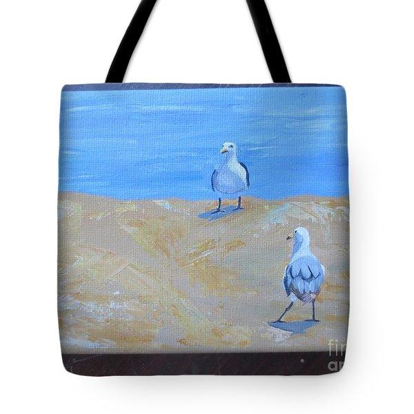 We First Met On The Beach Tote Bag