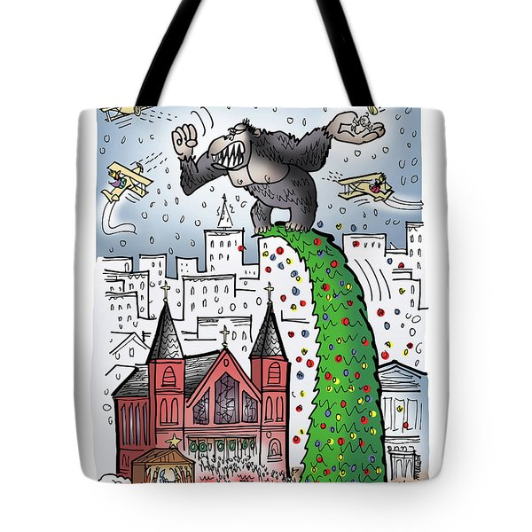 Tote Bag featuring the digital art King Kong Kristmas by Mark Armstrong