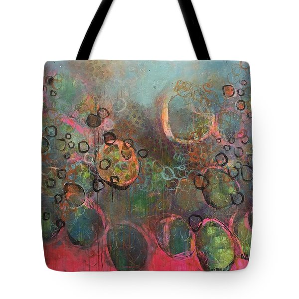 Tote Bag featuring the painting We Never Finish Where We Begin by Laurie Maves ART