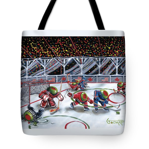 We Olive Hockey Tote Bag by Michael Godard