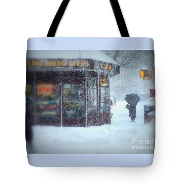 We Sell Flowers - Winter In New York Tote Bag by Miriam Danar