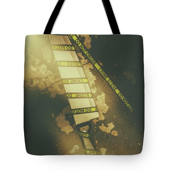 Weapon Wrapped In Yellow Crime Scene Ribbon Tote Bag
