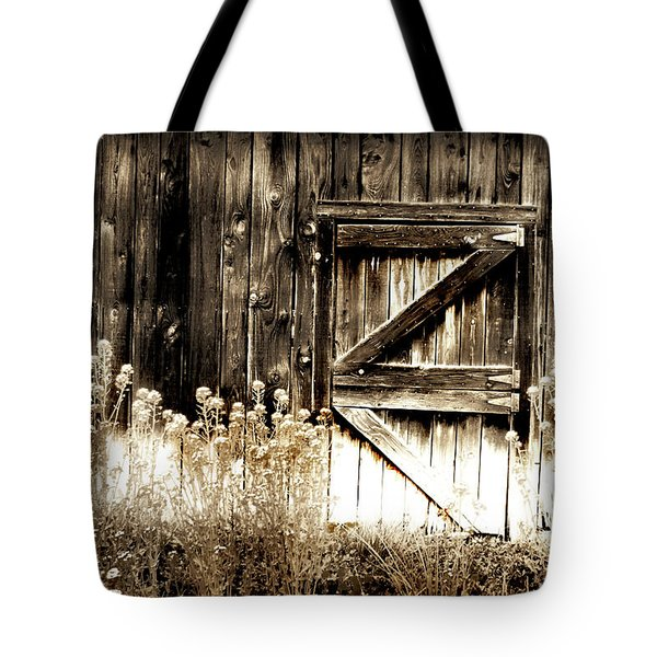 Weathered Barn Door Tote Bag by Gray  Artus