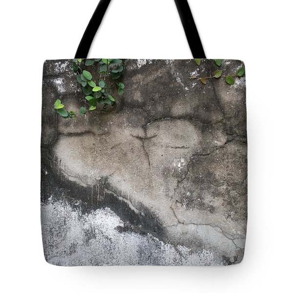 Weathered Broken Concrete Wall With Vines Tote Bag by Jason Rosette