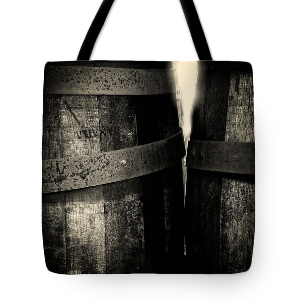 Weathered Old Apple Barrels Tote Bag by Bob Orsillo