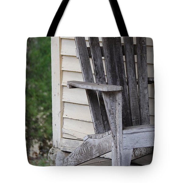 Tote Bag featuring the photograph Weathered Porch Chair by Debbie Karnes