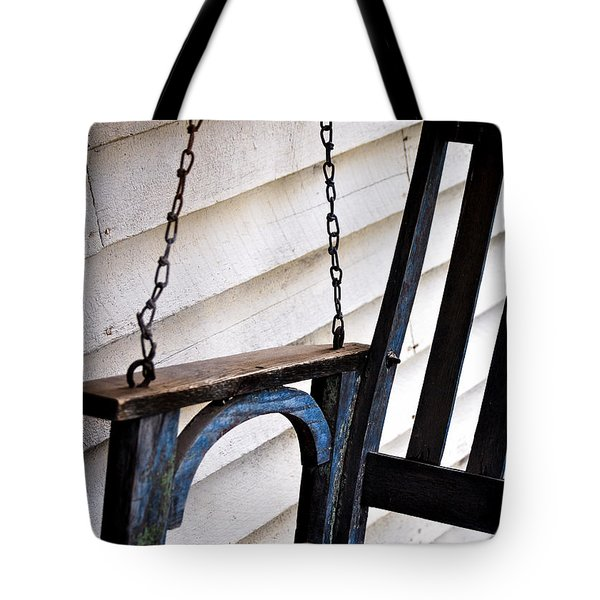 Tote Bag featuring the photograph Weathered Porch Swing by Debbie Karnes