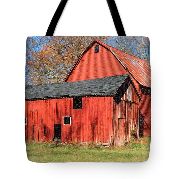 Tote Bag featuring the painting Weathered Red Barn by David Letts