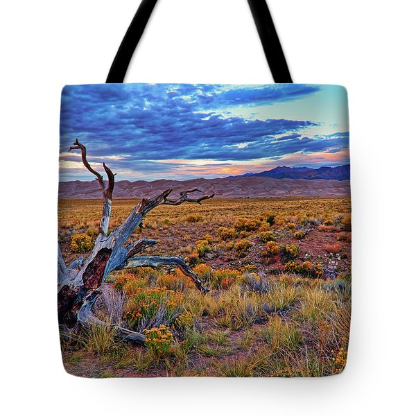 Weathered Wood And Dunes - Great Sand Dunes - Colorado Tote Bag by Jason Politte