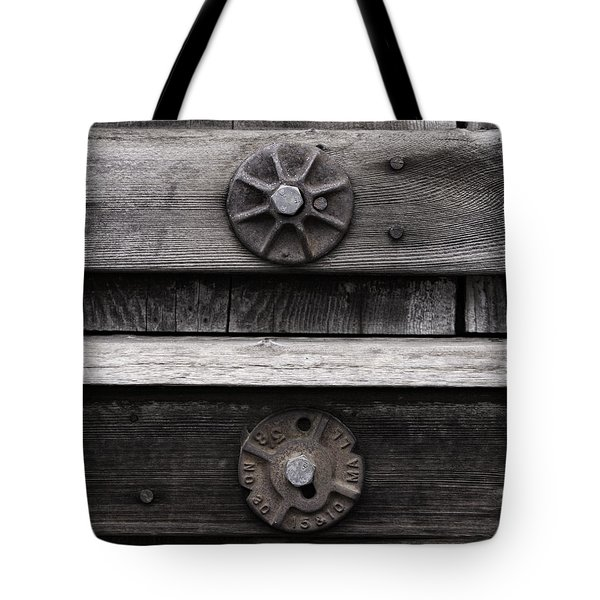 Weathered Wood And Metal Five Tote Bag
