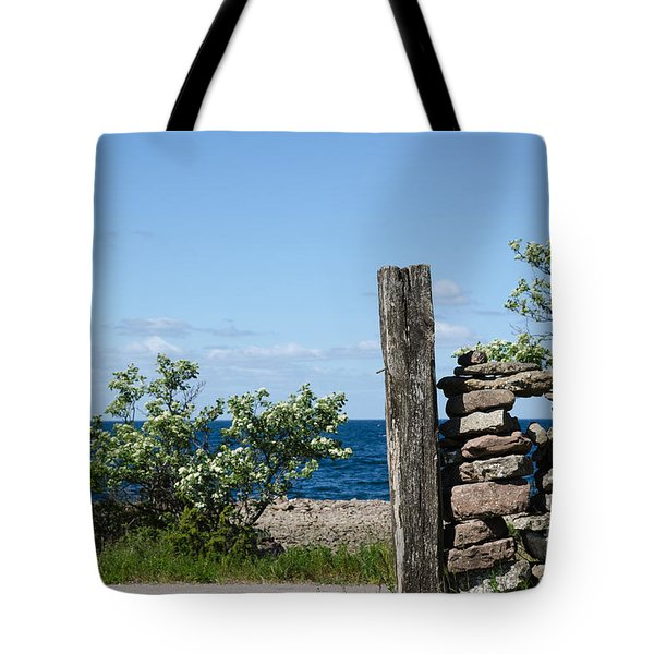 Weathered Wooden Pole Tote Bag