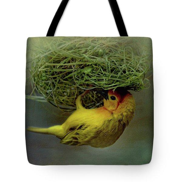 Weaver Bird Building A Nest Tote Bag