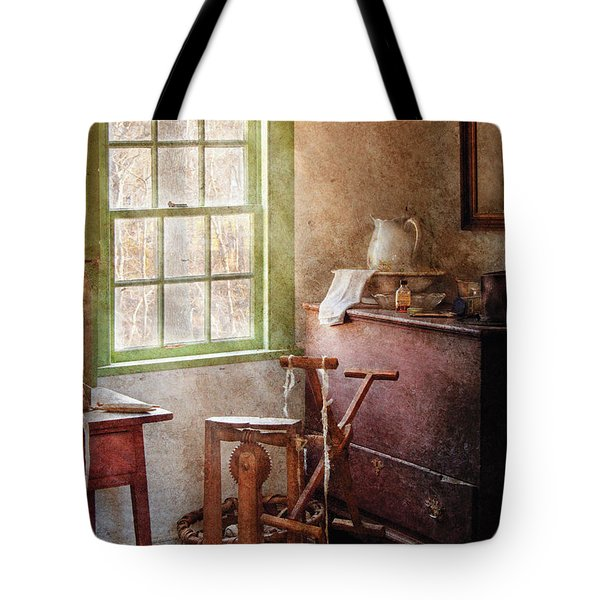 Weaving - In The Weavers Cottage Tote Bag by Mike Savad